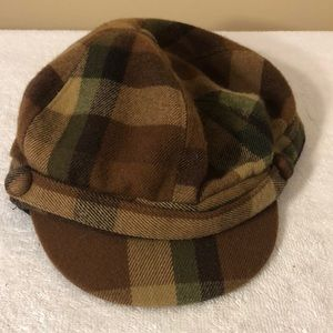 Women's brown plaid hat